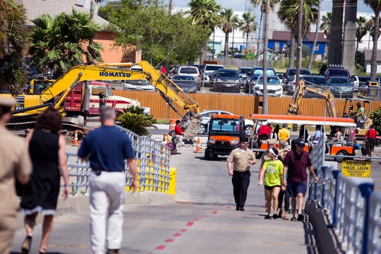 Construction continues on North Shoreline Drive outside the USS Lexington Museum on the Bay on Tuesday, June 4, 2019. The Lexington held a Commemoration of the Battle of Midway and of D-Day ceremony and construction continued as visitors attending the event entered and exited the museum.