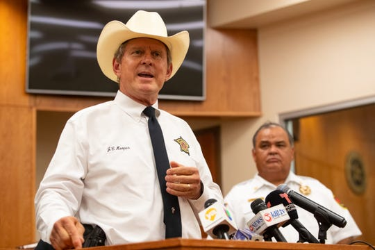 Nueces County Sheriff J.C. Hooper speaks at Robstown City Hall during a press conference following a wreck early Wednesday that left six migrants dead, five injured and two in the custody of Border Patrol just outside of Robstown on Wednesday, June 5, 2019.
