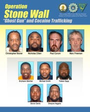 "A flier from the New Jersey State Police and the NJ Office of the Attorney General shows the nine South Jersey men who were indicted in a ring that trafficked illegal ""ghost guns"" and drugs."