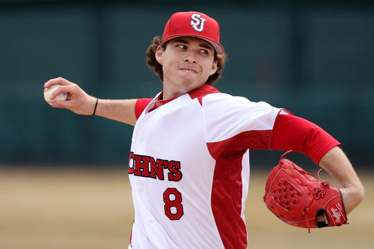 St. John's pitcher and Ocean City graduate Sean Mooney pitches during the 2017 season. Mooney was selected in the 12th round of the MLB Draft on Wednesday by the Minnesota Twins.