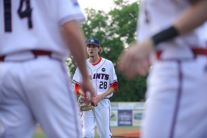 Chillicothe Paints pitcher Zach Kendall walks to the dugout during a game against the Terre Haute Rex on June 4. Kendall did not even play baseball in 2017 or 2018, but now he is one of the best arms in the Prospect League.