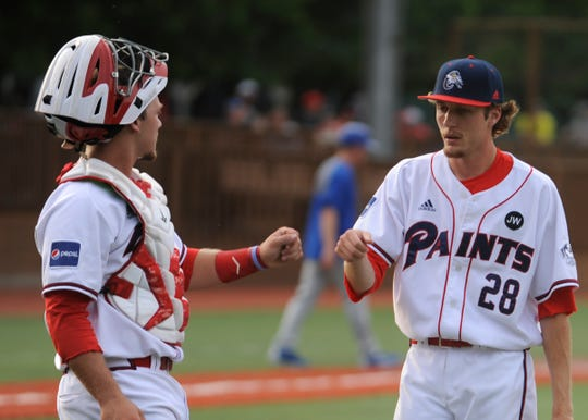 The Chillicothe Paints baseball team fell to the Terre Haute REX 2-1 Tuesday night at the VA Memorial Stadium in Chillicothe, Ohio, on June 4, 2019.