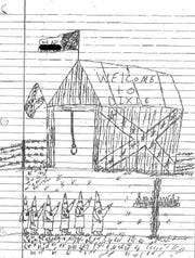 This drawing by an 8th grade student at the Lebanon Junior High School is part of a number of discipline records produced by school officials during a federal investigation into claims of racial discrimination at the Lebanon City School District. The investigation concluded there was a hostile racial environment for minority students in the Lebanon Junior High School and Lebanon High School.