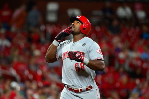 Jun 4, 2019; St. Louis, MO, USA; Cincinnati Reds right fielder Yasiel Puig (66) celebrates after hitting a solo home run off of St. Louis Cardinals starting pitcher Genesis Cabrera (not pictured) during the fifth inning at Busch Stadium. Mandatory Credit: Jeff Curry-USA TODAY Sports