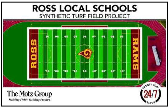 The design for the new synthetic turf project at Ross High School will have the Ram logo at midfield