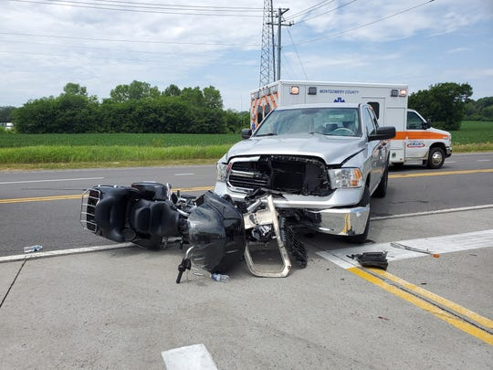 Charges are pending after an injury crash involving a  motorcycle and a pickup truck in Clarksville on Tuesday afternoon, police said.