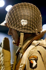 A helmet on display shows one of the heart logos used by soldiers of the 101st Airborne Division to distinguish themselves from others at the Pratt Museum in Fort Campbell, KY., on Tuesday, June 4, 2019.