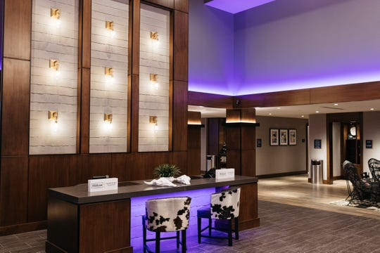 The lobby of Revel Hotel, a new boutique hotel in Urbandale.