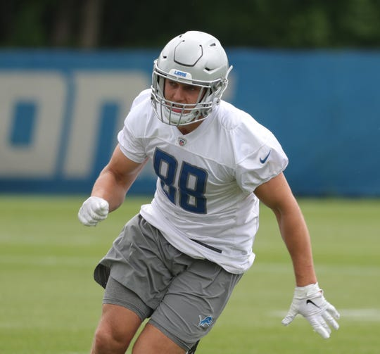 Lions tight end T.J. Hockenson goes through drills during minicamp on Wednesday, June 5, 2019, in Allen Park.