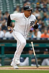 Detroit Tigers first baseman Miguel Cabrera (24) runs to first base after getting a hit for a RBI double during the first inning at Comerica Park on June 4, 2019 in Detroit, Michigan.