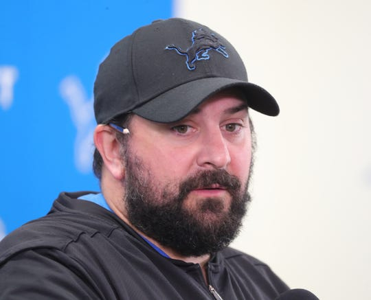 Lions coach Matt Patricia takes questions before minicamp on Wednesday, June 5, 2019, in Allen Park.