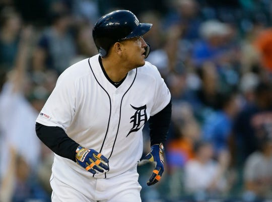 Miguel Cabrera #24 of the Detroit Tigers watches his grand slam against the Tampa Bay Rays during the fifth inning at Comerica Park on June 4, 2019 in Detroit, Michigan.