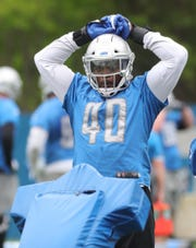 Lions linebacker Jarrad Davis goes through drills during minicamp on Wednesday, June 5, 2019, in Allen Park.