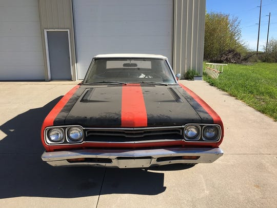 A 1969 Plymouth GTX convertible that will be auctioned off by the Leelanau County Sheriff's office.