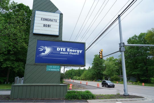 A marquee congratulates Bob Seger after a press conference to honor him by renaming the address of DTE Energy Music Theatre to 33 Bob Seger Dr. ahead of his six-show run at the DTE Energy Music Theatre in Clarkston on Wednesday, June 5, 2019.