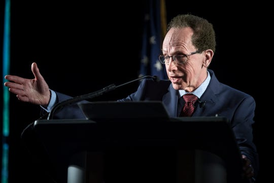 Warren Mayor James Fouts delivers his annual State of the City address at Andiamo on Wednesday.