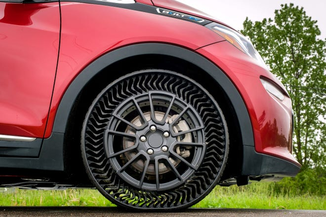 The Michelin Uptis Prototype is tested on a Chevrolet Bolt EV Wednesday, May 29, 2019, at the General Motors Milford Proving Ground in Milford, Michigan. GM intends to develop this airless wheel assembly with Michelin and aims to introduce it on passenger vehicles as early as 2024.