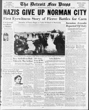 The Detroit Free Press front page, June 8, 1944.
