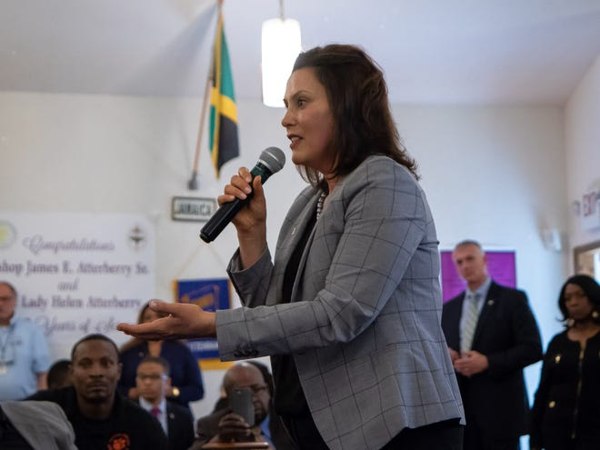 Gov. Gretchen Whitmer addresses residents of Benton Harbor during a special community meeting June 5 to discuss the state's proposal to close Benton Harbor High School.
