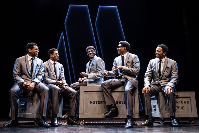 """Jawan M. Jackson, center, plays Melvin Franklin on Broadway in """"Ain't Too Proud: The Life and Times of the Temptations."""""""