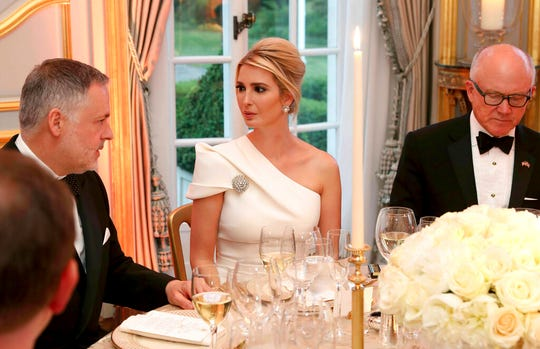 Ivanka Trump listens at the Return Dinner at Winfield House, the residence of the Ambassador to the U.K. in Regent's Park in London as part of President Donald Trump's state visit to Britain on Tuesday, June 4, 2019.