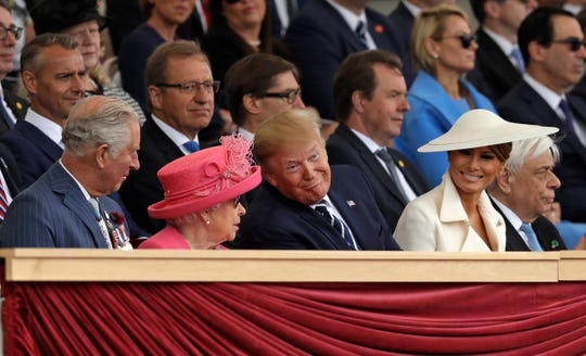 Britain's Prince Charles, Queen Elizabeth II, President Donald Trump and first lady Melania Trump, from left, attend an event to mark the 75th anniversary of D-Day in Portsmouth, England Wednesday, June 5, 2019.