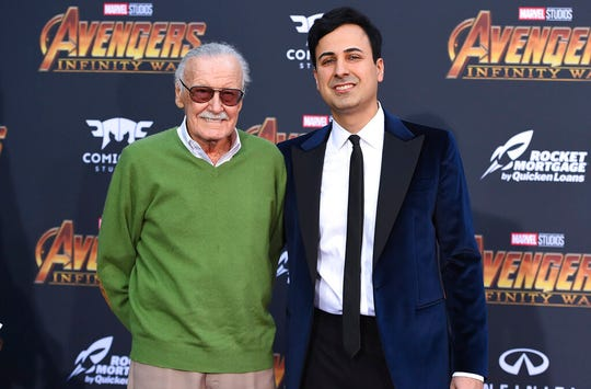 "In this April 23, 2018, file photo, Stan Lee, left, and Keya Morgan arrive at the world premiere of ""Avengers: Infinity War,"" in Los Angeles. Morgan, a former business manager to Stan Lee, has pleaded not guilty to charges accusing him of abusing the Marvel Comics legend."