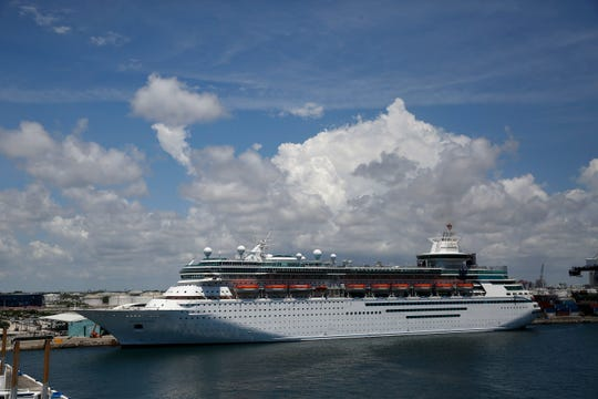 A Royal Caribbean Cruise ship called the Majesty of the Seas sets out at Port Everglades and will no longer go to Cuba, on Wednesday, June 5, 2019, in Fort Lauderdale, Fla.