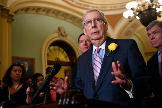 Senate Majority Leader Mitch McConnell of Ky., speaks to reporters following the weekly policy lunches on Capitol Hill in Washington, Tuesday, June 4, 2019.