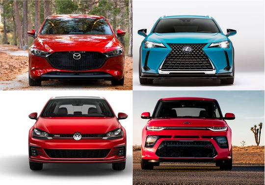 Henry Payne compares hot hatchbacks 2019 Mazda 3, clockwise from top-left, 2019 Lexus UX 250h F Sport, 2019 Kia Soul GT and the 2019 Volkswagen Golf GTI.