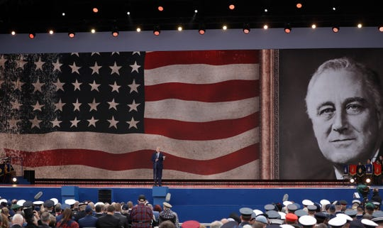 President Donald Trump speaks during an event to mark the 75th anniversary of D-Day in Portsmouth, England Wednesday, June 5, 2019.