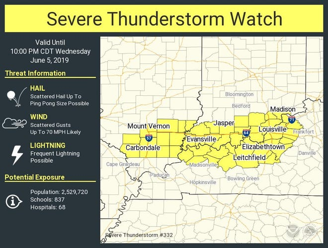 The severe thunderstorm watch area that includes Evansville and Henderson.