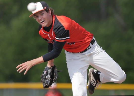 West De Pere's Connor Langreder pitches against Seymour during the Division 2 sectional final Tuesday in Winneconne.