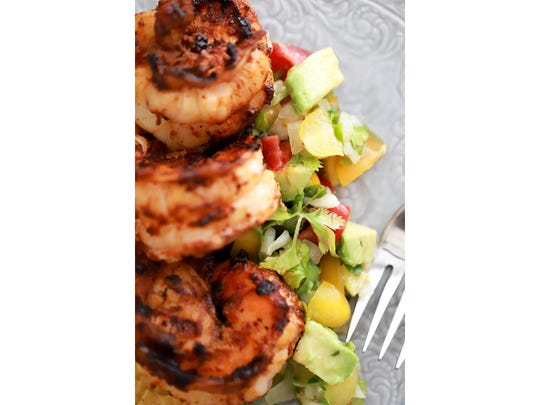 Seared Shrimp and avocado pico de gallo