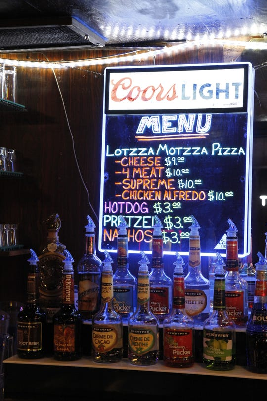 The bars serves hot dogs, nachos, pretzels and panned pizza.