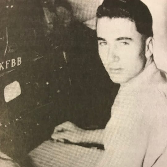 Laurence Pilgeram was a radio announcer for KFBB radio station in Great Falls, Mont., in 1944.