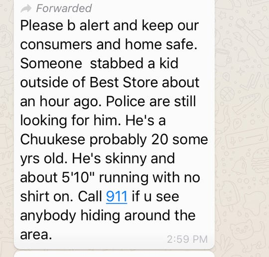 This message has been shared on WhatsApp chats on June 5, 2019. GPD Spokesman Sgt. Paul Tapao said no such calls regarding this incident were made to 911 or police dispatchers.