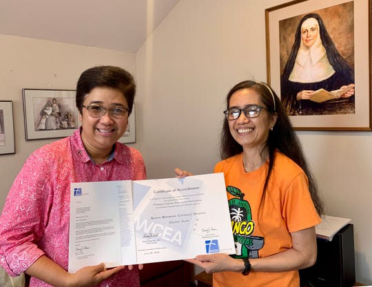 Santa Barbara Catholic School was granted a full six-year accreditation by the Western Catholic Educational Association through June 30, 2025 as stated in a letter from WCEA Executive Director Nancy J. Coonis. Pictured: Sister Maria Rosario Gaite, RSM Principal and Arleen Suplido, assistant to the principal for curriculum and grants hold the letter and certificate from WCEA.