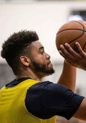 Former Indiana University forward Juwan Morgan, practices during the Pacers draft practice, Wednesday, June 5, 2019, at the St. Vincet Practice Center, Indianapolis.