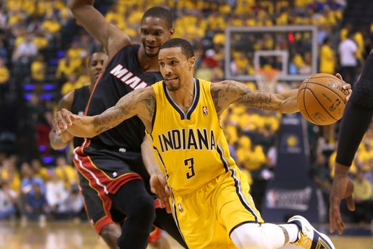 George Hill played for the Pacers in the 2014 Eastern Conference finals against Miami.