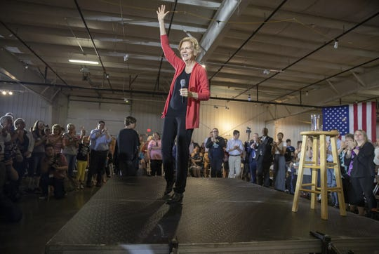 Elizabeth Warren speaks to attendees of a town hall style campaign stop in Elkhart, Wednesday, June 5, 2019. Warren is a Democrat seeking the party's nomination for President of the United States of America.