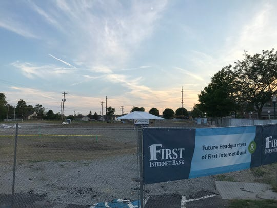Site on 116th Street where the First Internet Bank will build a headquarters as part of a $157 million downtown project in Fishers.