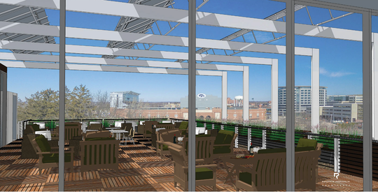 A pre-rendered image of what the the view from the Gaze Restaurant at the top of the Courtyard Hotel by Marriott will look like when construction is finished in 2020.