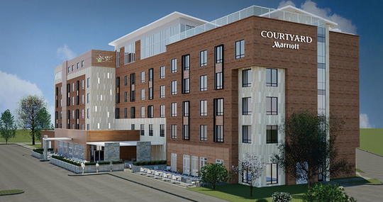 A pre-rendered image of what the Courtyard Hotel by Marriott will look like when construction is finished.