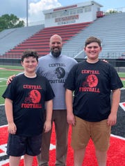 New Central High School principal Andrew Brown on May 24, 2019, with sons Zach (left) and Drew. As a young teacher, Brown also worked as a football coach and is excited that Drew, an incoming freshman, will be a Bobcat.