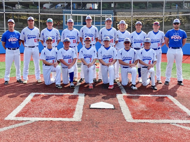 Members of the Lancaster Post 11 baseball team are, Front row, left to right: Zane George, Jacob Motta, Dakota Sode, Zack Crist, Cody Fyffe and Nathan Pechar. Second row, L-R: Head coach Dana Rowland, Zane Mirgon, James Troup, Lane Kastley, Tylor Wolfe, Seth Burgess, Chaz Dickerson, Dylan Piko, Trey Henry and assistant coach Tyler Sisson.