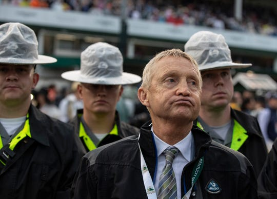 Jason Servis, trainer of Kentucky Derby winner Maximum Security, reacts as he hears the news that his horse has been disqualified, handing the victory to Country House. May 5, 2019.