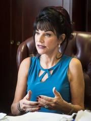 Ingham County Circuit Court Judge Rosemarie Aquilina, in her office June 4, 2019,  speaks about her mission after sentencing Larry Nassar, now serving time for child pornography and sexual assault.