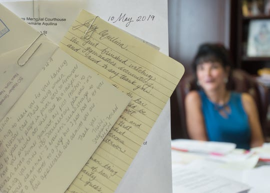 Ingham County Circuit Court Judge Rosemarie Aquilina, in her office June 4, 2019,  said she's getting a new wave of letters thanking her for sticking up for sexual assault survivors since a new HBO documentary aired.