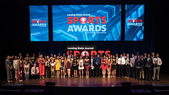 2019 athletes of the year with their trophies following the Lansing State Journal Sports Awards, Tuesday, June 4, 2019, at the Wharton Center on the campus of Michigan State University in East Lansing.